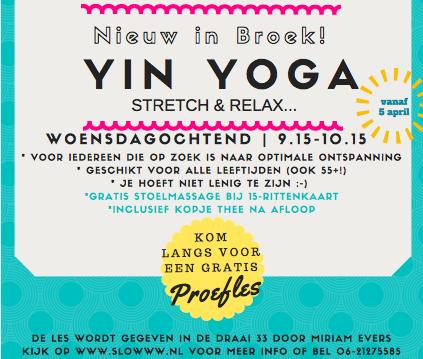 Nieuw: Yin yoga in Broek in Waterland